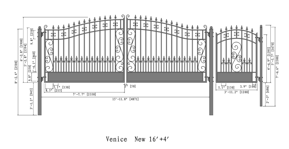 Venice style swing dual steel driveway gates ft with